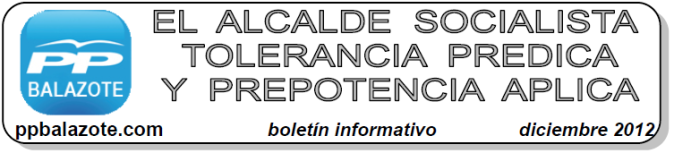 Boletín Informativo PP Balazote - diciembre 2012