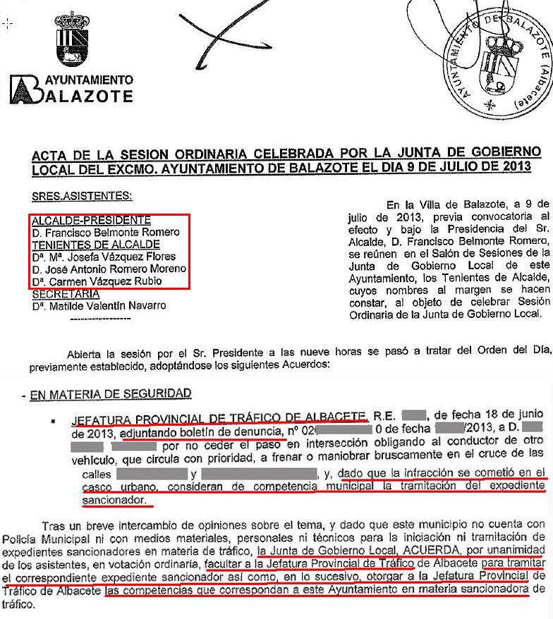 Acta JGL 9-7-13 tráfico.