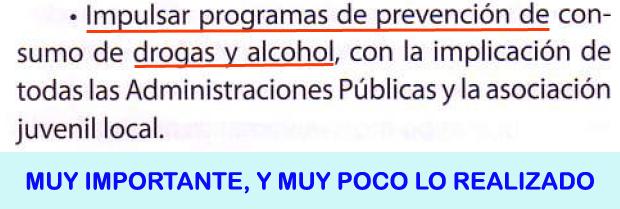 26. Impulsar programas prevención drogas y alcohol...